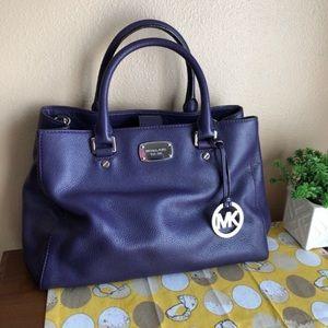 Michael Kors purple leather satchel with strap